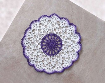 Purple Decor Crochet Lace Doily, New Table Decoration, Ruffled Violet and White Accent