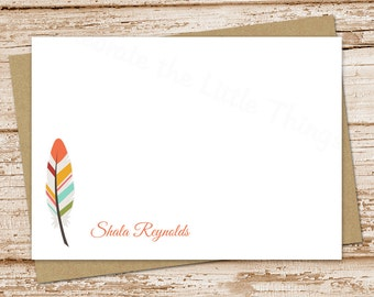 personalized feather note cards . feather notecards . FLAT personalized stationery . stationary . set of 10