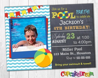 Pool Party Invitation, Swimming Birthday
