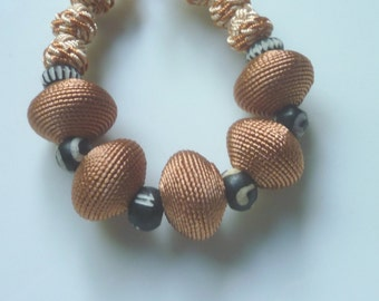 Moroccan art silk bead bracelet, terracotta and African beads