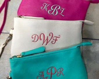 Monogrammed purse wristlet cream