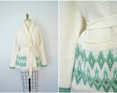 1970s cream oversized knit sweater cardigan / arctic mint green and white cozy sweater / medium large xl