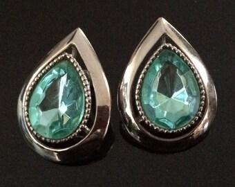 Earrings, blue-green stone, white metal setting,post backs, 1980s