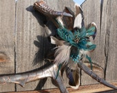 Painted Antler Art, antler shed painted antiqued pewter, wrapped in copper wire and adorned with Feathers in gray, brown and teal