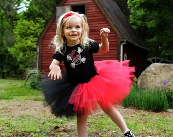 Childs Harley Quinn tutu red black layered skirt mini puffy girls todler dance ballet dress up halloween  -  Grow with me - SistersEnchanted