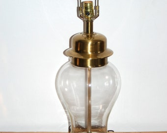 """Vintage Frederick Cooper Brass and Glass Ginger Jar Table Lamp w/ Original Label & Finial ~ Very Good Condition ~ 28"""" tall ~ Hollywood"""