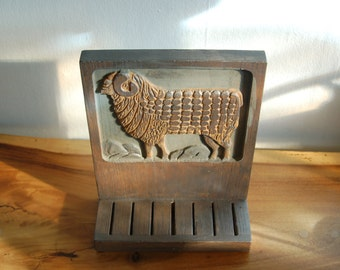 Jerry and Evelyn Ackerman ~ ERA Industries ~ carved wood Gourmet Kitchen bas-relief Ram wall Knife Holder / Rack