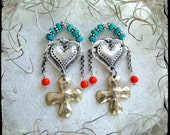 Cowgirl HEART Earrings CROSS earrings Sterling silver earrings Turquoise Orange Love Mojo Boho GYPSY earrings Valentines Day gift