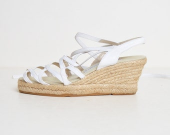 Vintage 90s ANADRE ASSOUS Espadrilles / 1990s White Leather Ankle Tie Slingbacks Wedges  7