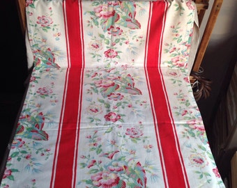 """Vintage French Fabric / Floral Panel  & Red Stripes /Fabric Home Decor 104 """" x 24"""" Home Furnishings"""