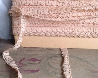 Vintage Lace Trim. Antique Pink Lace, Pastel Pink Trim / 6yd Dolls Bears Ballet. Home Furnishings, Sewing Supplies