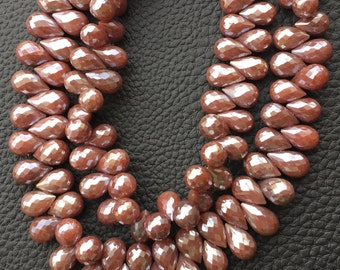 Brand New, 1/2 Strand,Superb-Finest Quality Mystic Chocolate MOONSTONE Faceted Drops Shape Briolettes, 9-11mm size,Great Item