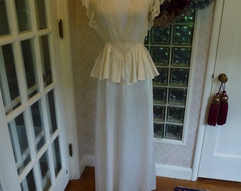Vintage 70s 1970s 40s Lily of France Nightgown Plunging Ivory Sheer Lace Winged Sleeve Satiny Peplum Negligee M Medium