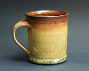 Handmade pottery coffee mug tea cup 14 oz, amber rust tea cup 3316