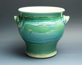 Ceramic stoneware kitchen utensil holder jade green 3379