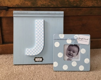 Personalized Name Sign and Frame Gift Set, Custom Wall Letter, Initial Plaque, Custom Nursery Decor, Baby Name Art, Nursery Sign, Baby Gift