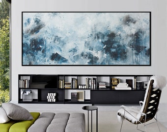 72x30 original abstract painting extra large blue black white horizontal painting 'spring messengers' Elena