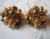 Vintage Olive Green, Cream, Pink Glass Beaded Clip On Earrings from Japan