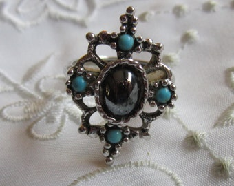 Vintage Avon Faux Turquoise and Jet Black Glass Ring
