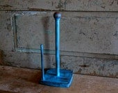 Turquoise Paper Towel Holder Painted Distressed Wooden