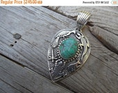 ON SALE special order for cppringle.. Beautiful turquoise pendant sand cast in sterling silver by an American Indian