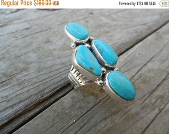 ON SALE Beautiful four stone turquoise ring handmade in sterling silver 925