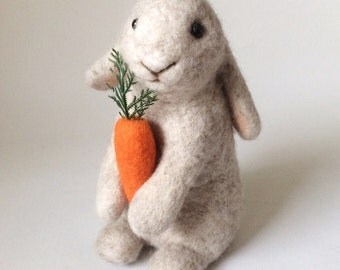 Handmade Bunny - Needlefelted - Wool Rabbit - Best gift - Soft sculpture - One of a kind - Eco friendly
