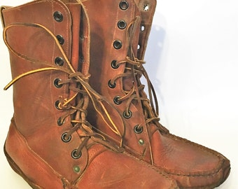 Rare Vintage Leather Moc Moccasin Boots JOHN PALMER Company Fredericton N.B. Moosehead