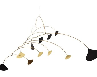 Mid Century Brass and Black Calder Style Mobile - Kinetic Metal Mobile