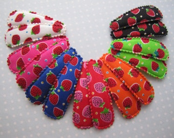 Strawberries . snap clip pair . toddler hair accessory . choose your color . white pink red orange lime blue black