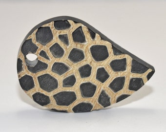 Horn focal beads, flat leaf, 43x64mm, #1420