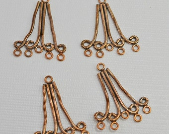 Antique twisted copper reducers/pendants, 30x35mm - #1724