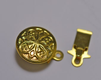 Gold plated tab clasp, 10mm, floral design - #2060