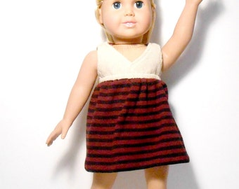 18 Inch Maroon and Beige Striped Doll Dress, Doll Dress, Shoes and Panties,  Doll Socks, 18 Inch Doll Panties, Crocheted Shoes With Socks