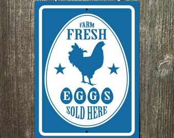 Farm Fresh Eggs Sold Here Sign Blue White