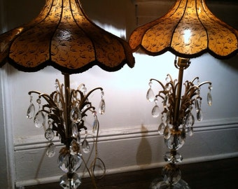 Vintage crystal hand cut imported pair lamps