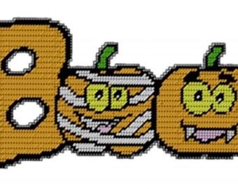 Plastic Canvas Boo Pumpkin Instant Download