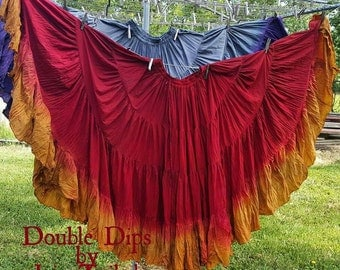 Hand Dyed 25yd skirts Red Rust and Golden fields