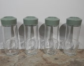 4 Matching Clear Glass Green Cap Jars Storage Organization Mini Apothecary Spice Bottles Flower Vase Reusable Instant Collection Home Decor