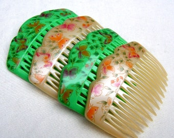 Vintage hair combs 4 flower design celluloid hair accessories mid century  decorative hair comb hair jewelry (XXO)