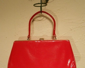 ON SALE 30% OFF Flaming Red Worries - 1950s Cherry Red Vinyl Patent Large Handbag