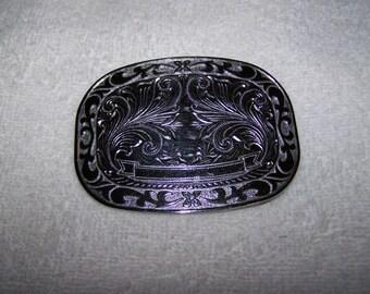 Ornately Carved Silver Engraveable Belt Buckle
