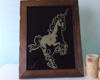 80s Unicorn Vintage Space Epic Glitter Framed Glass Art 1980s In Large Dark Wood Frame