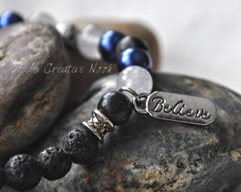 Essential Oil Diffuser Bracelet, Royal Blue Beaded Diffusing Lava Bead Stretch Bracelet 'believe'