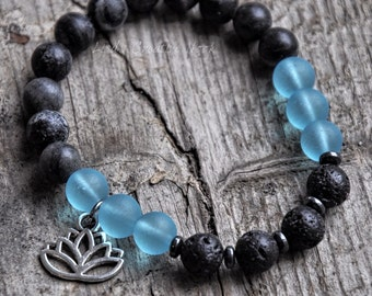 Essential Oil Diffuser Bracelet with Diffusing Lava Beads, Sea Glass and Natural Healing Stones