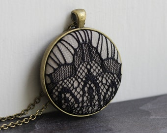 Art Deco Jewelry, Unique Necklace for Women, Beige and Black Lace Pendant, Large, Neutral, Taupe, Goth Necklace, Geometric, Modern Jewelry