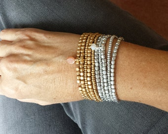 Liquid Metal Stack Bracelets - Silver or Gold or Both