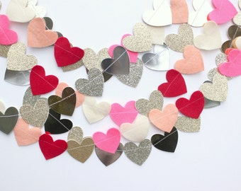 Valentines Day hearts garland- your choice of 2 color schemes