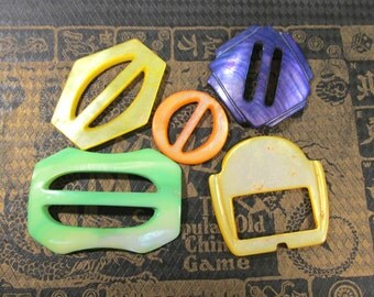 MoP Slides Buckles VINTAGE MoP Buckles SLIDES Five (5) Dyed Mother of Pearl Shell Vintage Jewelry Wedding Fashion Supplies (J146)
