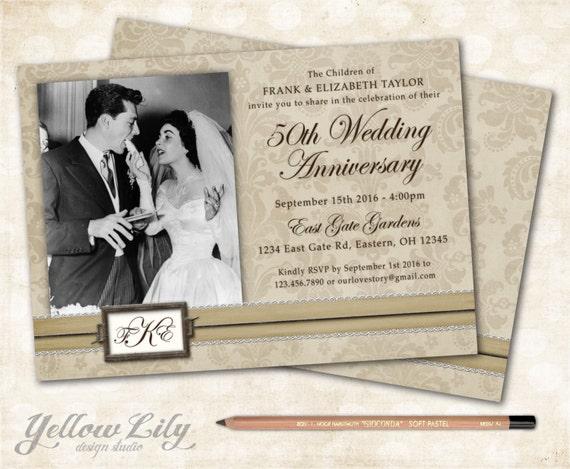 50th Wedding Vow Renewal Invitations: 50th Wedding Anniversary Invitation Monogram / Vintage / Vow